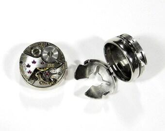 Steampunk Cufflinks BULOVA ROUND Ruby Jeweled CUFFLESS Cufflinks Watch Button Covers Wedding Groomsmen Cufflinks - Jewelry by edmdesigns