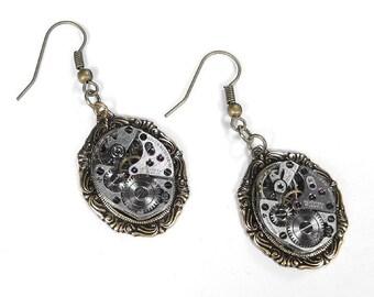 Steampunk Jewelry Earrings Vintage Ruby Watch Movement Scroll Design WEDDING Anniversary Womens Gift - Steampunk Jewelry by edmdesigns