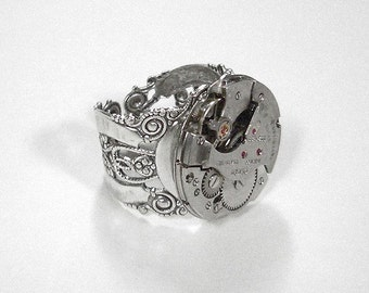 Steampunk Jewelry Ring Vintage RUBY Jeweled Watch Movement Mens Womens Steam Punk Birthday Anniversary - Steampunk Jewelry by edmdesigns