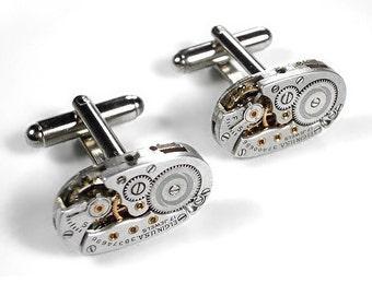 Steampunk Jewelry Watch Cufflinks ELGIN Oval Ruby Jewel Watch Mens Cuff Links WEDDING Anniversary Groomsmen Fathers - Jewelry by edmdesigns