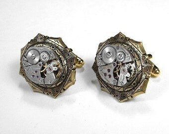 Mens Watch Cufflinks Vintage Watch Movements, Mens Cuff Links Wedding Anniversary Groomsmen Father's Day - Steampunk Jewelry by edmdesigns