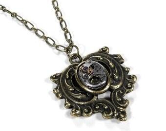 Steampunk Jewelry Necklace Vintage Ruby Jewel Watch Leaf Topaz Crystal Wedding Anniversary Mother's Day - Steampunk Jewelry by edmdesigns