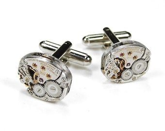 Mens LONGINES Ruby Jeweled Watch Cufflinks Steampunk Cuff Links SOLDERED Steam Punk Wedding Groom Fathers Day Gift - Jewelry by edmdesigns