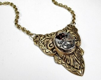 Steampunk Jewelry Victorian Necklace Vintage Watch TOPAZ Crystal Anniversary Mother Birthstone YOUR Choice Color - Jewelry by edmdesigns