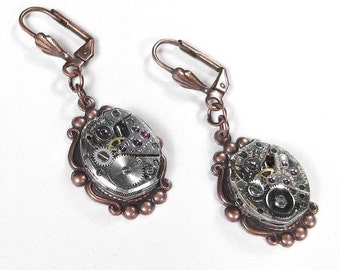 Steampunk Jewelry Earrings Vintage Ruby Jewel Watch Rose Gold Steam Punk Wedding Anniversary Brides Mothers Gift  - Steampunk by edmdesigns