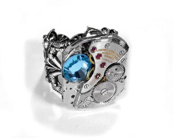 Steampunk Jewelry Ring Vintage LONGINES Ruby Jewel Watch Movement Mens Womens Ring, Aqua Swarovski Mothers Day - Steampunk by edmdesigns