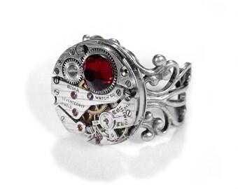 Steampunk Jewelry Ring Vintage Silver RUBY Jewel Watch Adjustable Filigree RUBY Swarovski Wedding JULY Birthday Gift - Jewelry by edmdesigns