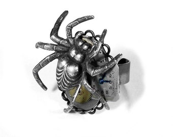 Steampunk Jewelry Ring Silver SPIDER Ring Watch Dial Gears Cogs Adjustable Ring Men Women Burning Man Ring - Steampunk Jewelry by edmdesigns