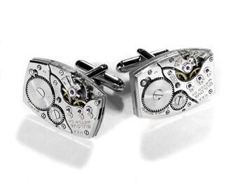 Mens Watch Cufflinks BULOVA Art Deco Cuff Links In AUXILIARY MAGAZINE Wedding Groom Groomsmen Fiancee Cufflinks Gift - Jewelry by edmdesigns