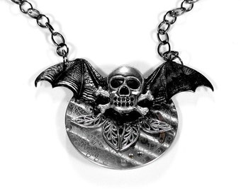 Steampunk Jewelry HALLOWEEN Necklace Black BAT WINGS, Etched Pocket Watch, Skull Bones Necklace, Gothic Necklace - Jewelry by edmdesigns