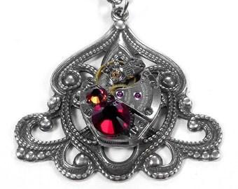 Steampunk Jewelry Necklace Vintage Watch ART NOUVEAU Red Crystals Anniversary Wedding STRIKING - Steampunk Jewelry by edmdesigns