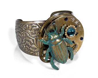 Steampunk Jewelry Cuff Pocket Watch Scarab Bracelet BEETLE Teal Crystal Wedding Steam Punk Event Burning Man SO COOL - Jewelry by edmdesigns