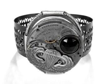 Steampunk Cuff Bracelet Grunge Pocket Watch PARATROOPER AIRSHIP Black Stone Men Womens Steam Punk KNOCKOUT - Steampunk Jewelry by edmdesigns