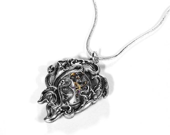 Steampunk Jewelry Necklace Vintage Ruby Jewel Watch Silver Lily Snake Chain Wedding Womens Mom Mothers Day - Steampunk Jewelry by edmdesigns