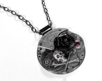 Steampunk Jewelry Necklace GRUNGY Pocket Watch Dial Black Rose SKULL Red Crystal Rocker Burning Man Post APOCALYPTIC - Jewelry by edmdesigns