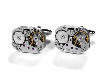 Steampunk Cufflinks RUSSIAN Jewel Watch Movements Mens Cuff Links WEDDING Anniversary, Groom, Fathers Day - Steampunk Jewelry by edmdesigns