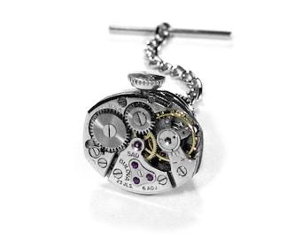 Mens Watch Tie Tack Mens BULOVA 23 Ruby Jewel Watch Movement Winding Stem Steampunk Jewelry, Anniversary Fathers Day - Jewelry by edmdesigns