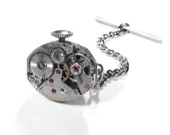 Steampunk Jewelry, Steampunk Mens Tie Tack, Mens Jewelry, Ruby Jewel Watch Mechanism Stem, Wedding Groom Fathers Day - Jewelry by edmdesigns