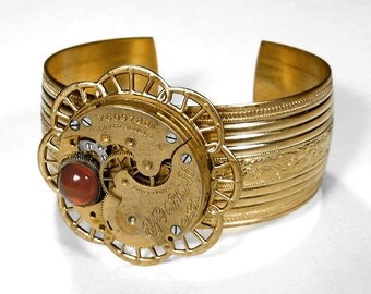 Steampunk Jewelry Cuff Vintage ELGIN Gold Ornate Pocket Watch Bracelet AMBER GEM Weddings Anniversary Holiday Gift - Jewelry by edmdesigns