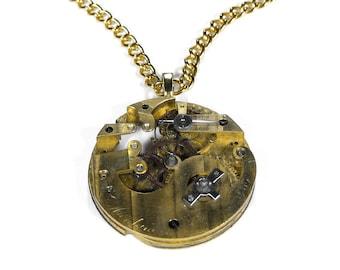 Steampunk Jewelry Necklace Gold SkELETAL Pinstripe RARE HEFTY Pocket Watch Men's Women's Anniversary - Steampunk Jewelry by edmdesigns