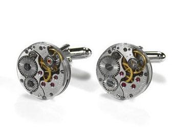 Steampunk Cufflinks RUSSIAN Pinstripe Ruby Jeweled Watch Mechanism Wedding, Anniversary Groomsmen Cufflinks Dad Gift - Jewelry by edmdesigns