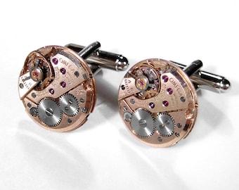 OMEGA Rose Gold Watch Cufflinks Steampunk Jewelry LUXURY Mens Cuff Links Wedding Groom Anniversary Mens Holiday Gift - Jewelry by edmdesigns