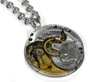 Steampunk Necklace Vintage HAMPDEN Etched Silver Golden Brass Pocket Watch Unique 2 Tone, Anniversary Valentine Gift - Jewelry by edmdesigns