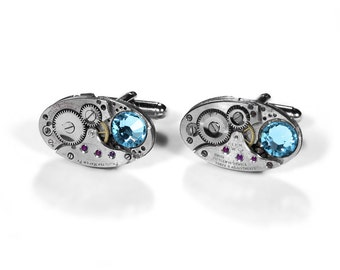 Steampunk Jewelry Cufflinks OVAL Watch Mens Groom Cuff Links Aqua Crystals Wedding Groomsmen Cufflinks Fathers Day - Jewelry by edmdesigns