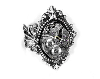 Steampunk Jewelry Ring Vintage Jeweled Watch Ring SOLDERED Victorian Silver Filigree Mothers Day Mom Gift - Steampunk Jewelry by edmdesigns