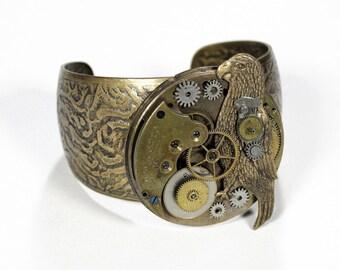 Steampunk Jewelry Cuff Vintage Brass Pocket Watch Bracelet MECHANICAL PARROT Gears Men Women Burning Man Cuff - Jewelry by edmdesigns