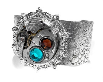 Steampunk Jewelry Steampunk Cuff WALTHAM Pocket Watch Etched Pattern Sterling Turquoise Mocha Crystals GORGEOUS Gift - Jewelry by edmdesigns