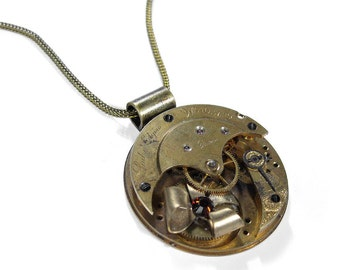Steampunk Jewelry Necklace Vintage Pocket Watch ELGIN Brass Floral TOPAZ Swarovski Anniversary Mother Valentine Gift - Jewelry by edmdesigns