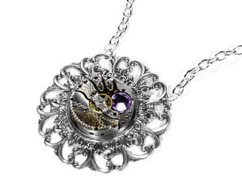 Steampunk Jewelry Necklace Vintage ETCHED Pocket Watch LILAC Crystal Wedding Anniversary Bride, Girlfriend BEAUTIFUL - Jewelry by edmdesigns