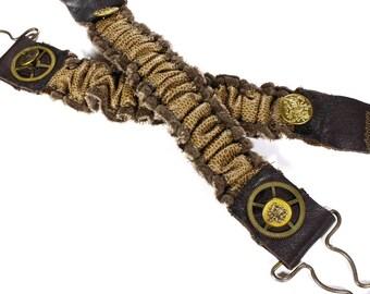 Steampunk Shirt Garters - Sleeve Garter Brown Mixed Leathers Gear Buttons Arm Band Cuff Wedding Garter Burning Man - Clothing by edmdesigns