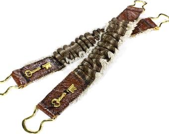 Steampunk Shirt Garters Mens Sleeve Garter Brown Leather Brass Keys Pirate Wedding Rocker Arm Band Cuff - Steampunk Clothing by edmdesigns