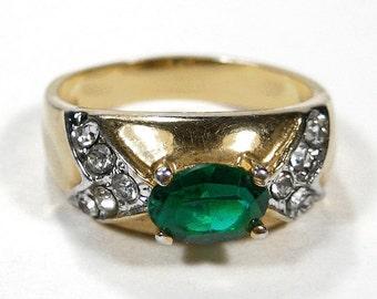 Antique Art Deco Ring EMERALD 7mm Rhinestone 14K EP 1940s Round Rhinestones, Engagement Wedding Ring Mothers Day - Jewelry by edmdesigns