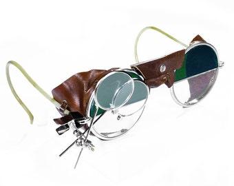 Steampunk Goggles Antique Rare Two Tone Steam Punk Glasses
