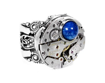Steampunk Jewelry, Steampunk Ring Mens Silver Ring Vintage Ruby Jewel Watch Adjustable Blue LAPIS Lazuli Fathers Day - Jewelry by edmdesigns