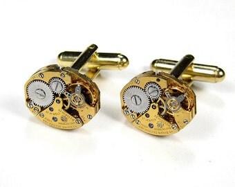 Mens Cufflinks PAUL BREGUETTE Luxury GOLD Watch Cuff Links Wedding Anniversary Groom Fiance Cufflinks Gift - Steampunk Jewelry by edmdesigns