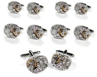 Steampunk Cufflinks SOLDEReD Cufflinks Wedding Set 5 Pairs Vintage HAMiLTON Ruby Jeweled Mens GROOMSMEN Gift - Jewelry by edmdesigns