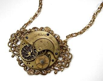 Steampunk Jewelry ELGIN Pocket Watch Filigree Brass HERON Bird PUBLISHED Statement Necklace, Wife Anniversary Gift - Jewelry by edmdesigns