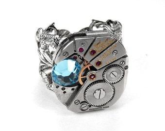 Steampunk Jewelry Ring Vintage PAUL BREGUETTE Mens Womens Watch Aqua Swarovski Crystal, Anniversary Wedding, Fiancee - Jewelry by edmdesigns