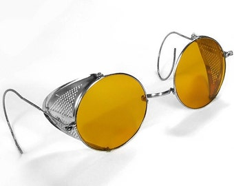 Steampunk Goggles Vintage WILLSON AMBER TINT Steam Punk Glasses Perforated Metal Side Shields 1900's Eyewear MiNT - Steampunk by edmdesigns