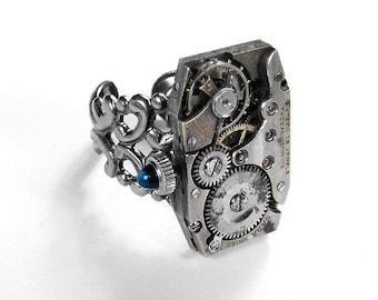 Steampunk Vintage Jeweled Mens Watch Mechanism Ring Adjustable Unisex Sapphire Stem Weddings Anniversary - Steampunk Jewelry by edmdesigns