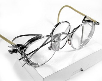 Steampunk Goggles AMERICAN Optical Antique Steam Punk Glasses CLEAR Side Shields 2 Magnifier Loupes Rare Unique Pair MINT - by edmdesigns