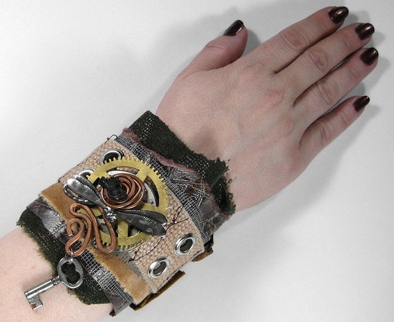Steampunk Cuff - Industrial OLIVE and BROWN LEATHER Wrist Cuff - Vintage Brass Pocket Watch Wheels... AWESOME GEARS and DRAGONFLY Focals - One of a Kind Adjustable UNISEX PIECE... SO COOL - NEW WEARABLE ART Exclusively by edmdesigns