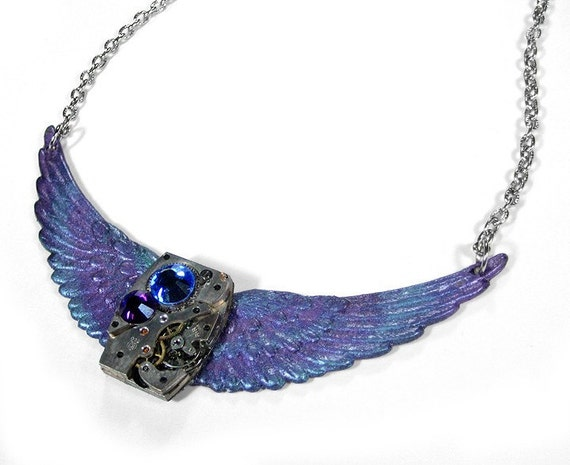 Steampunk Necklace - Vintage FLIGHT TO THE PAST Pendant Necklace - Blue and Purple WINGS with Metallic Glimmer - Silver Rectangular Watch Mechanism with SWAROVSKI Crystals - Exclusive Offering by edmdesigns