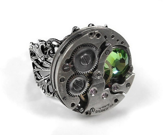 Steampunk Ring Vintage Watch Pinstripe PATTERN Accent PERIDOT Green Swarovski Crystal Mens Womens August Birthstone - Jewelry by edmdesigns