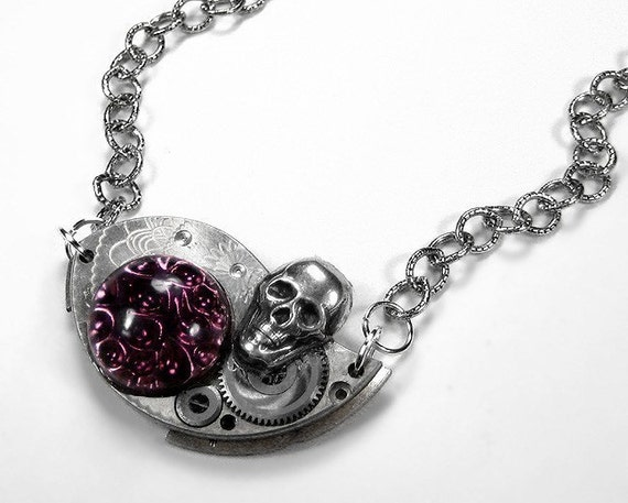 Steampunk Jewelry Necklace Vintage Silver Etched Pocket Watch Parts SKULL PLUM Stone Wedding Anniversary - Steampunk Jewelry by edmdesigns
