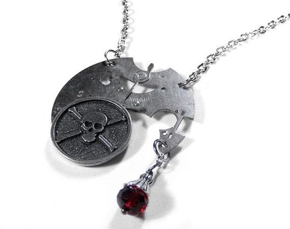 Steampunk Necklace Vintage Pocket Watch SKULL Red Crystal Wedding Anniversary Steam Punk Biker Gothic  - Steampunk Jewelry by edmdesigns